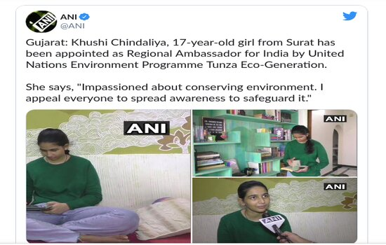 Khushi Chindaliya: 17-Year-Old Surat Girl Appointed Green Ambassador By United Nations Environment Programme